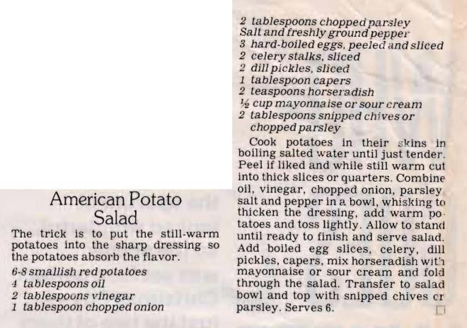 American Potato Salad Crop