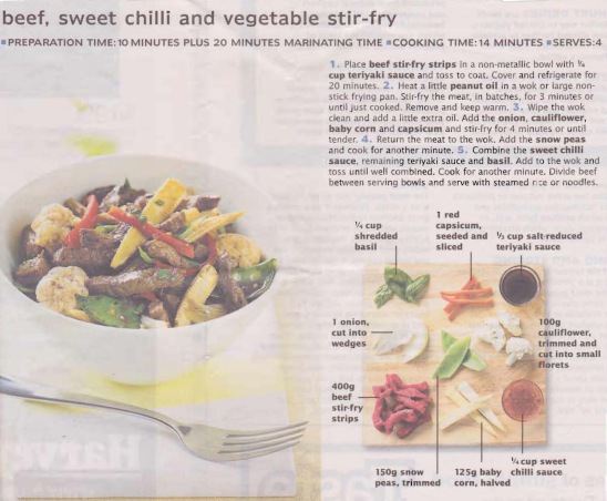 Beef Sweet chilli & vegetable stir fry