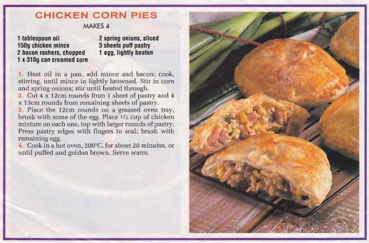 Chicken corn pies