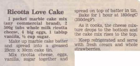 Ricotta Love Cake