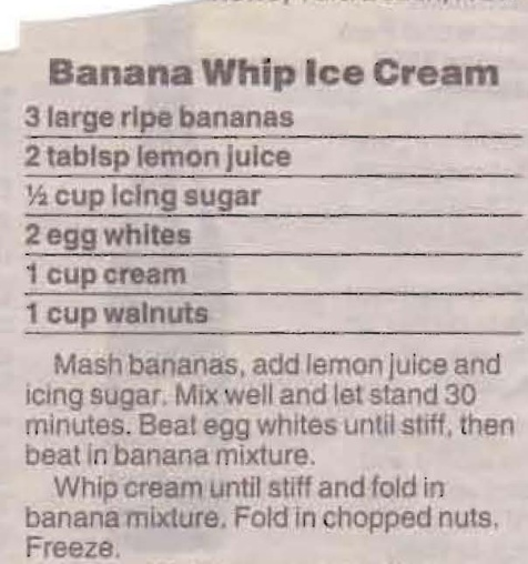 Banana Whip Ice Cream