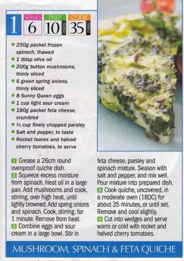 Mushroom Spinach & Feta Quiche