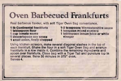 Oven Barbecued Frankfurts