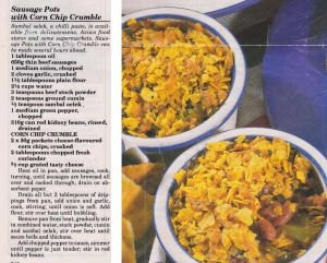 Sausage Pots with Corn Chip Crumble
