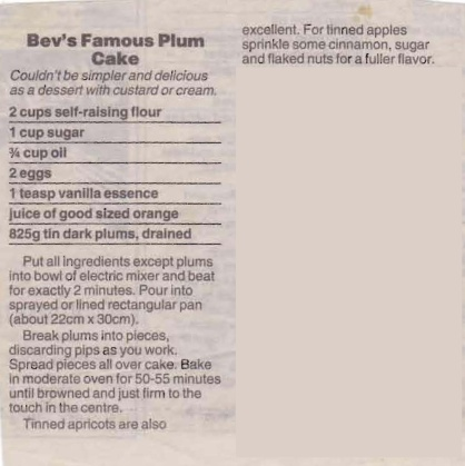 Bev's Famous Plum Cake